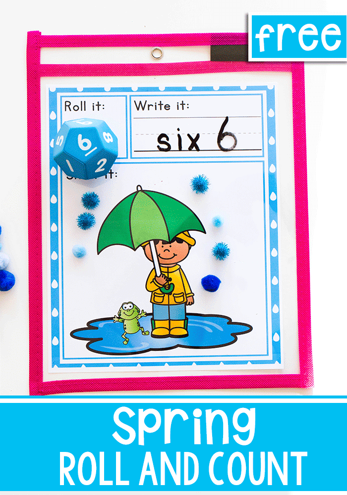 Rainy day roll and count spring math game