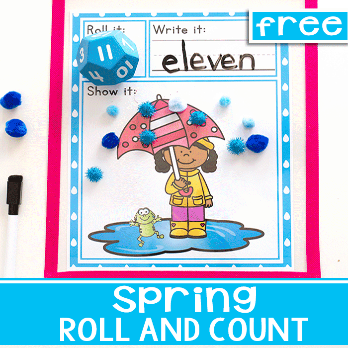 Free printable rainy day roll and count spring math game
