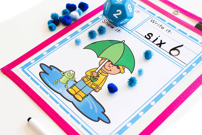Roll and count spring math game for preschool and kindergarten