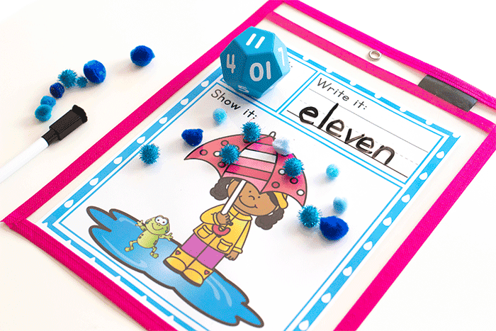 Roll and count rainy day spring math game for kids