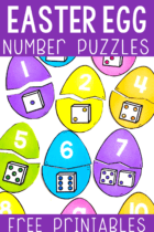 Match the Easter Egg Number puzzles to build number sense. Math numbers to dice.