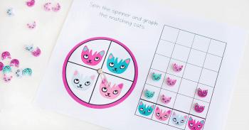 Free printable mini eraser graphing activity for kindergarten.
