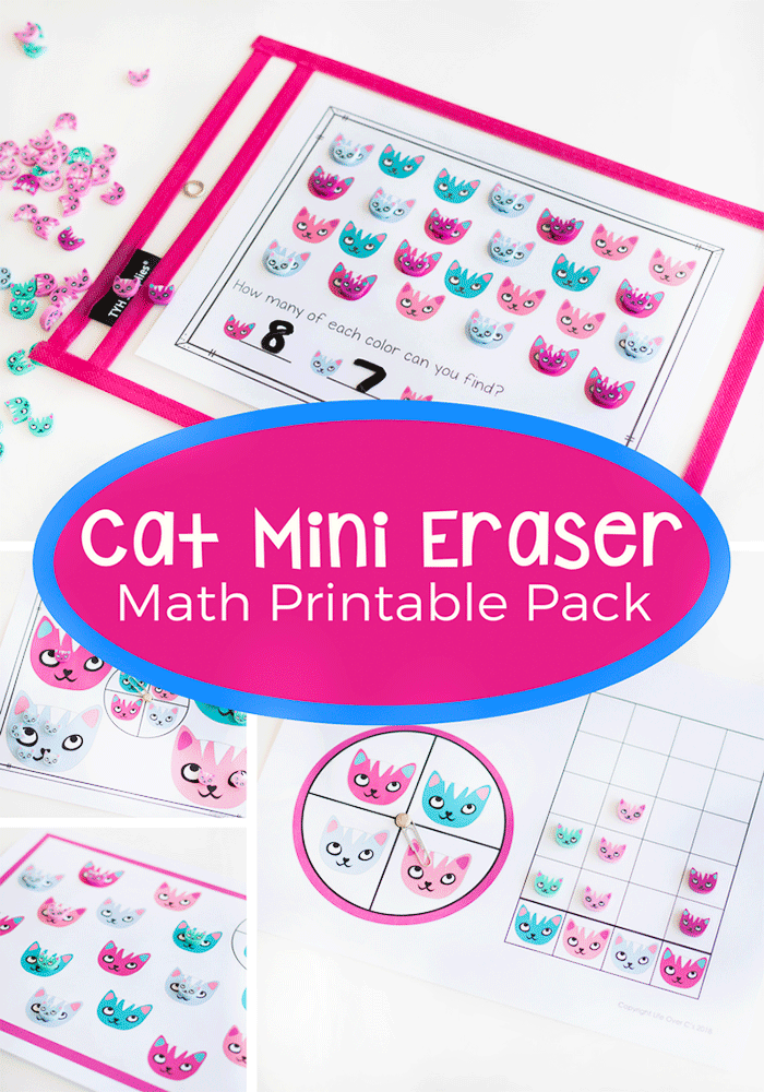Mini eraser free printable math activities for kindergarten.
