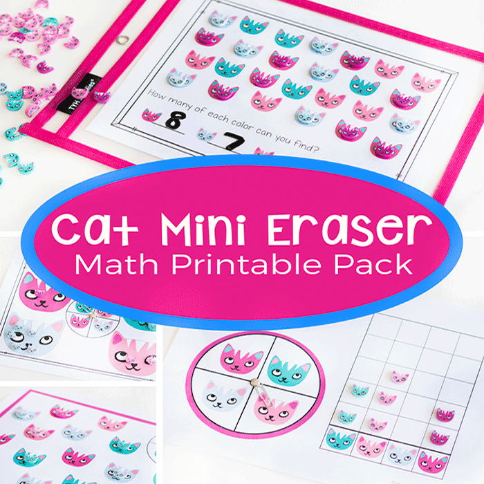 Work on graphing, counting and colors with this fun mini eraser math pack for preschoolers and kindergarteners.