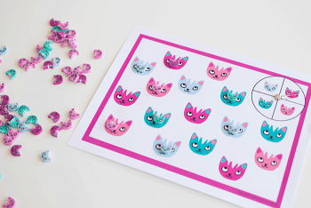 Learn colors with this simple free printable cat themed mini eraser game for preschoolers.
