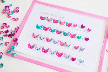 AB Pattern Activity using cat mini erasers from Target.