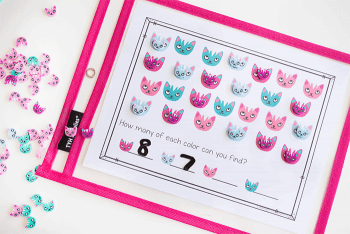 /counting practice with cat mini erasers and this free printable math game.