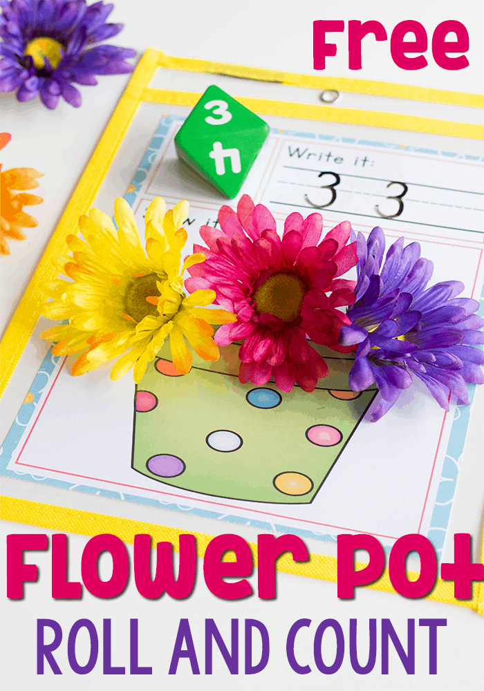 This spring math game for kids is a great free printable counting activity for kindergarten and preschool. Roll the dice and count the correct number of flowers.