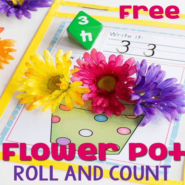 Roll the dice and count the flowers with this easy math game for kids. No prep math center.