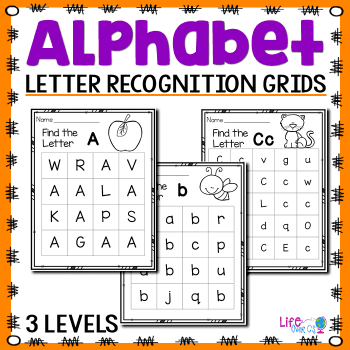 3 levels of letter recognition grids for leaning uppercase and lowercase letters.