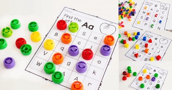 3 levels of letter recognition grids for learning the alphabet.