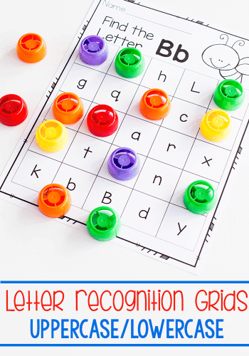 Free printable letter recognition grids. Perfect kindergarten literacy center for learning the alphabet.