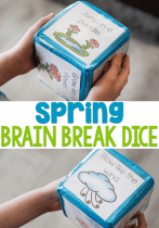Spring brain break dice for preschool and kindergarten. Great for easy brain breaks throughout the day.