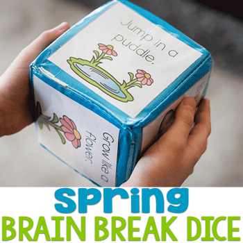 Spring theme brain breaks for indoor recess or waking up tired kids! Free printable for kindergarten.
