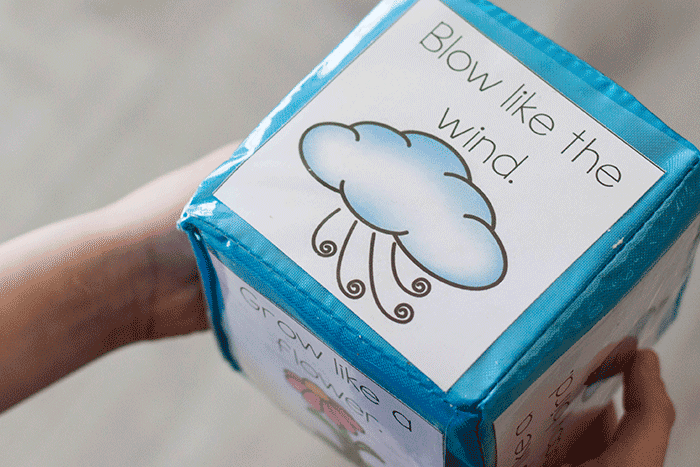 Pretend to blow like the wind with this free printable brain break dice activity for kindergarten.