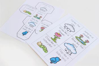 Free printable brain break activity for spring. Perfect for kindergarten.
