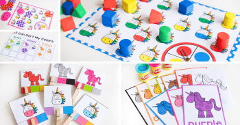 Unicorn themed activities for learning colors with your preschoolers
