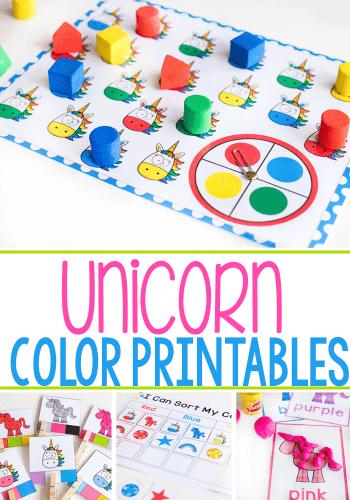 Printable unicorn color activities for preschool. 8 printable activities.