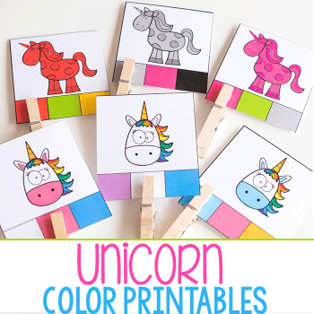 Unicorn Themed colored activities and printables for preschool.