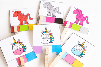 Unicorn color matching clip cards for preschoolers