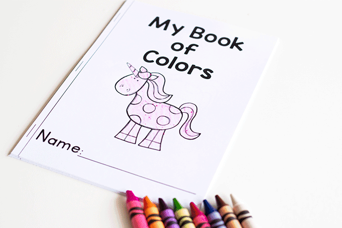 "Unicorn theme emergent reader for learning colors with preschoolers. Text says ""My book of colors"". Color the unicorns"