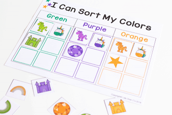 Unicorn color sorting activities: blue, red, and yellow color sorting for preschoolers.