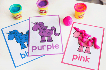 Unicorn color play dough mats. Create a unicorn with play dough.