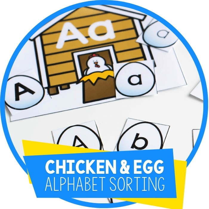 Free Printable Alphabet Sorting Chicken and Eggs Activity