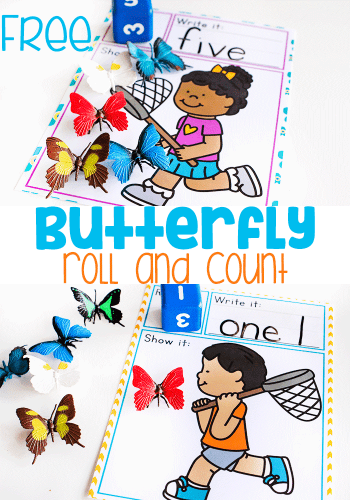 Free printable butterfly roll and count math game for preschool. Roll dice and count butterflies.