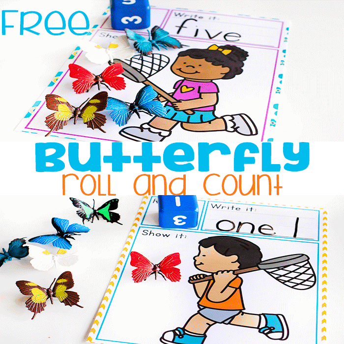 Butterfly counting game for preschool and kindergarten. Roll the dice and count the butterflies.