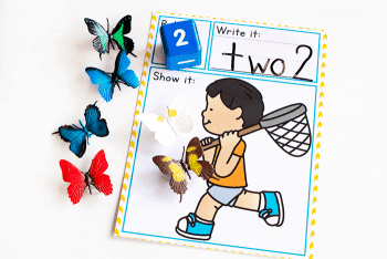 free butterfly counting game for kindergarteners. Perfect for a spring math center.