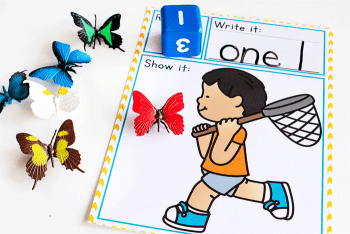 catch butterflies with this simple, low-prep printable math game for preschoolers. Roll a die and count the correct number of butterflies.