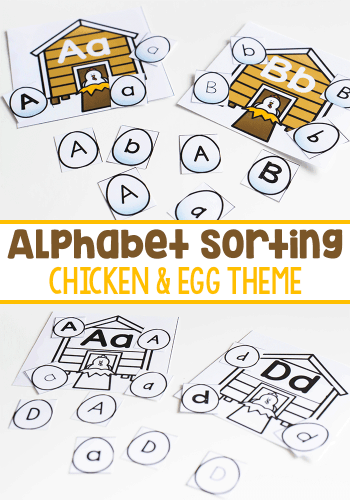 Work on letter recognition for different fonts with this free printable alphabet sorting activity for kindergarten. Perfect for a farm theme!