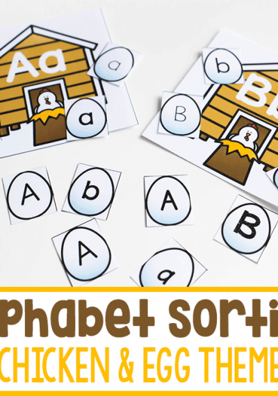 Free printable farm theme alphabet activity for kindergarten literacy centers. Work on letter recognition with this fun printable.