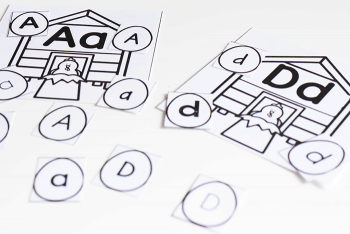 This free printable farm theme alphabet activity for preschoolers is available in color and black and white for teachers who can't print in color.