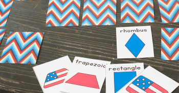 Fun shape matching game with a cute patriotic theme for kindergarten and preschool.