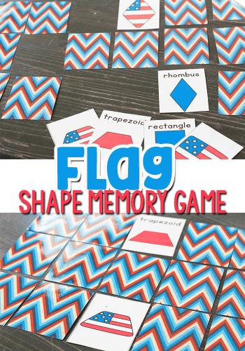 Free printable flag shape memory game for preschoolers and kindergarten.