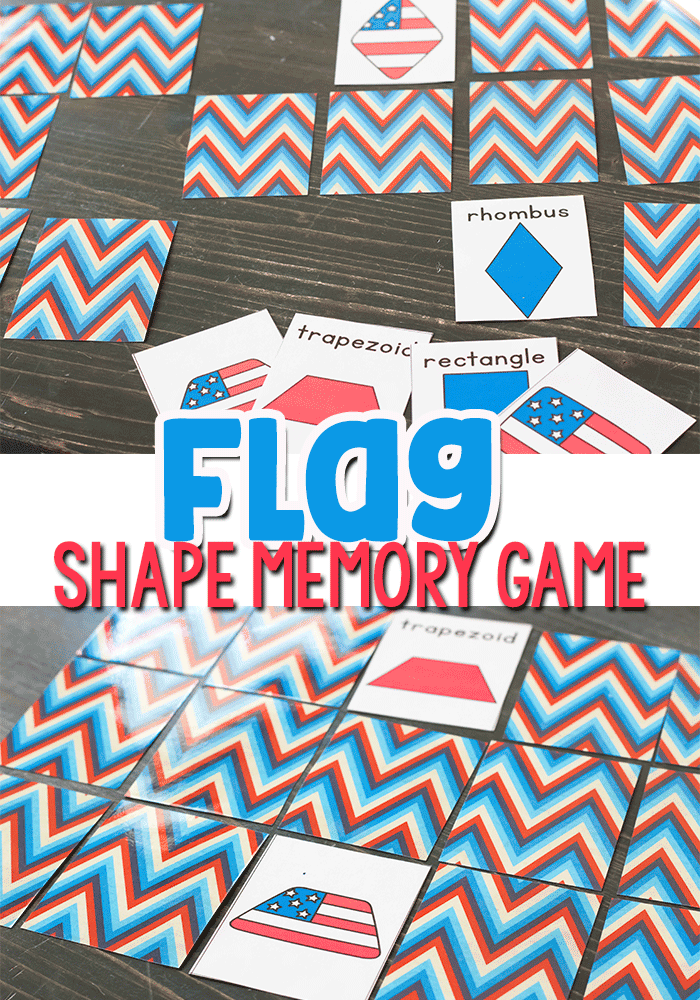 Free printable flag shape memory game for preschoolers and kindergarten.