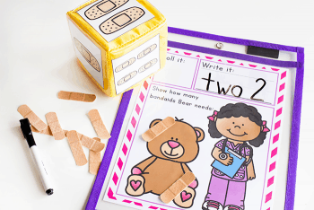 free printable community helpers nurse and teddy bear math game is perfect for practicing counting skills during your community helpers theme.