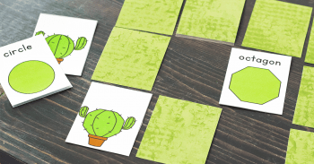 Learn shapes with this fun cactus themed free printable shape memory game. Great for a desert theme!