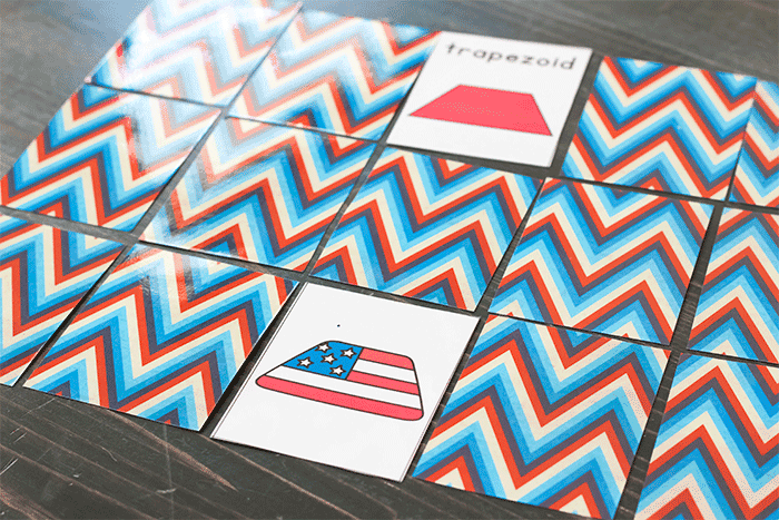 Red, white and blue flag matching game for 2D shapes.