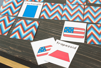 Shape Matching Game for preschool. Match the shapes and the flags.