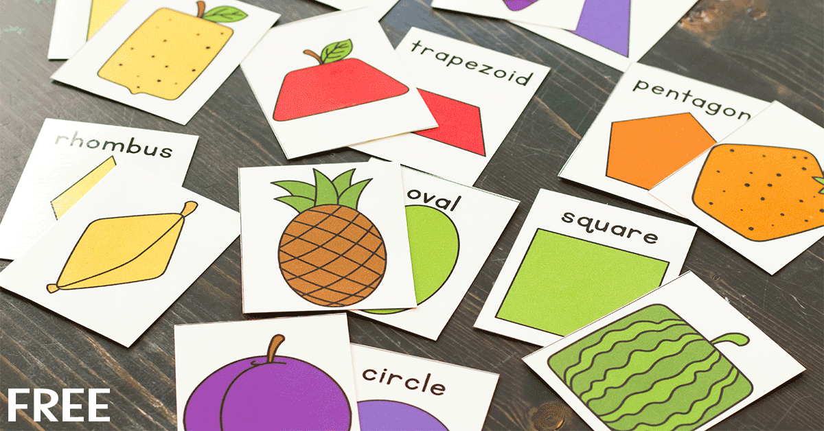 Learn about 2D Shapes with this free printable fruit matching game for kindergarten.