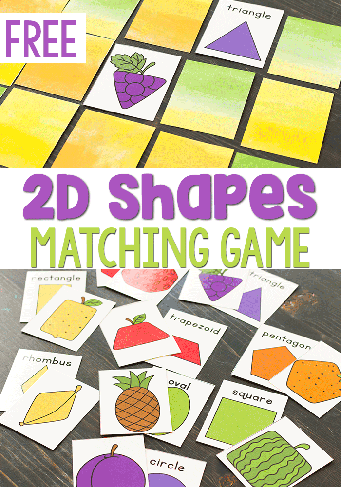 Free printable 2D shape fruit matching game for preschool, pre-k and kindergarten.