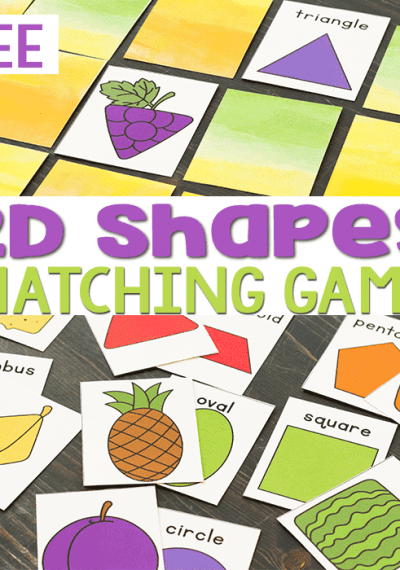 Free printable 2D shape matching game with a fruit theme for preschool.