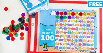 Use manipulatives and dice to count to 100 with this free printable ocean animal math activity.