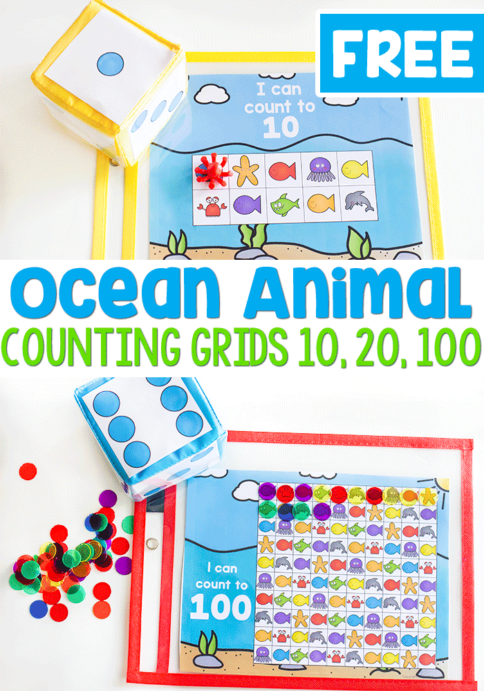 Free printable ocean animal counting grids for counting to 10, 20, and 100.