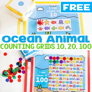 Preschoolers love counting with this free printable counting grid with ocean animals.