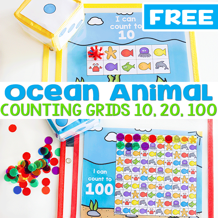 image regarding Printable Ocean Animals named Train Counting With Ocean Themed Counting Grids Cost-free