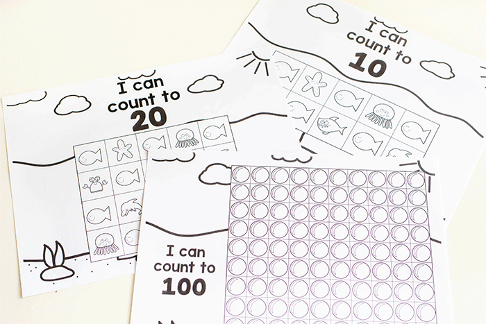 Free printable black and white ocean animal counting activity for preschool.